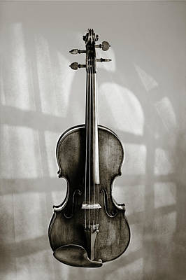 Photograph - 214 .1841 Violin By Jean Baptiste Vuillaume Bw by M K Miller
