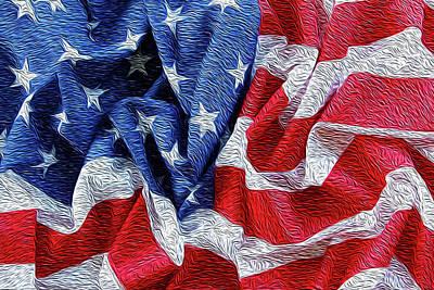 Democracy Digital Art - American Flag by Les Cunliffe