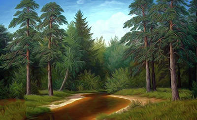 Red Painting - Nature Landscape Art by Edna Wallen