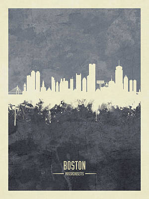 Boston Wall Art - Digital Art - Boston Massachusetts Skyline by Michael Tompsett