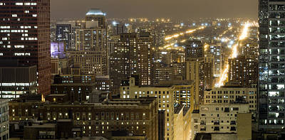 Chicago Loop Photograph - Buildings In A City Lit Up At Night by Panoramic Images