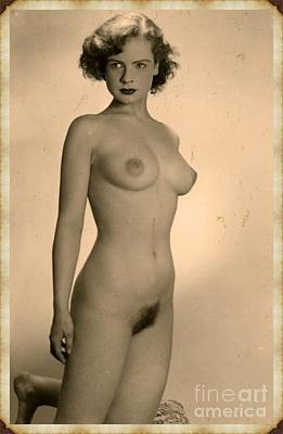 Art Nudes Digital Art - Digital Ode To Vintage Nude By Mb by Mary Bassett