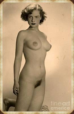 Antlers - Digital Ode to Vintage Nude by MB by Esoterica Art Agency