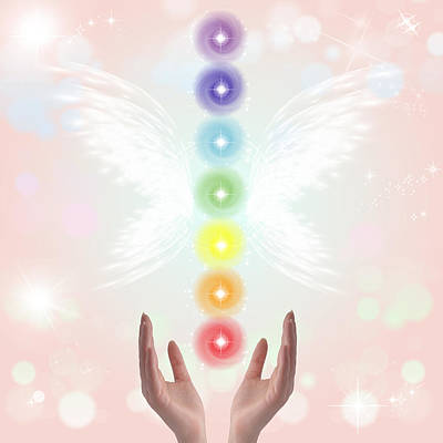 Copy Mixed Media - Healing Hands And Seven Chakras by Stela Knezevic