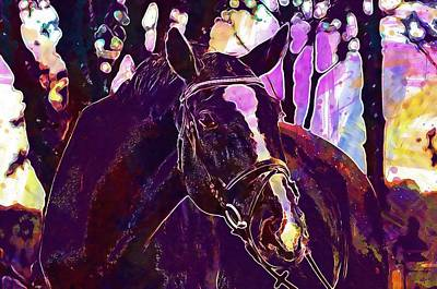 Digital Art - Horse Animal Ride Reiterhof Brown  by PixBreak Art