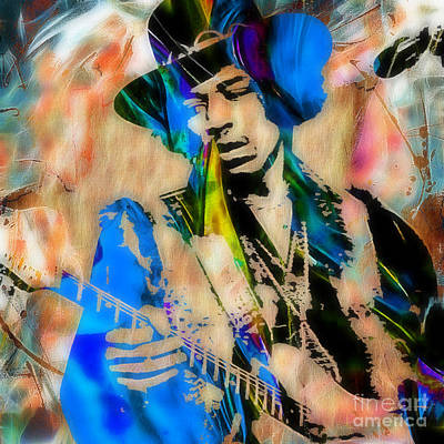 Stratocaster Mixed Media - Jimi Hendrix Collection by Marvin Blaine