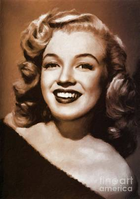 Actors Royalty-Free and Rights-Managed Images - Marilyn Monroe Vintage Hollywood Actress by Mary Bassett