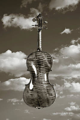 Photograph - 222 .1841 Violin By Jean Baptiste Vuillaume Bw by M K Miller