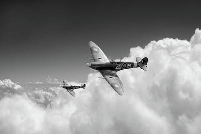 Photograph - 222 Squadron Spitfires Above Clouds by Gary Eason