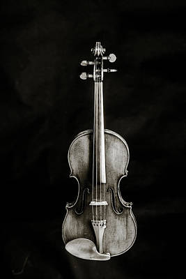 Photograph - 223 .1841 Violin By Jean Baptiste Vuillaume Bw by M K Miller