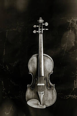Photograph - 224 .1841 Violin By Jean Baptiste Vuillaume Bw by M K Miller