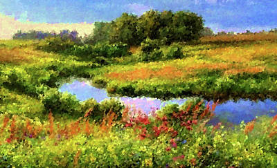 Evening Painting - Nature Landscape Lighting by Edna Wallen