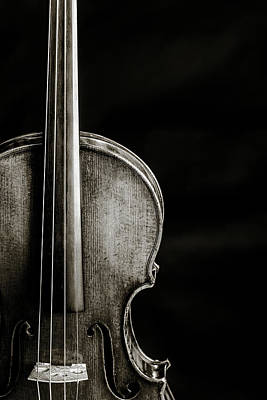 Photograph - 226 .1841 Violin By Jean Baptiste Vuillaume Bw by M K Miller