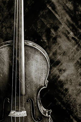 Photograph - 227 .1841 Violin By Jean Baptiste Vuillaume Bw by M K Miller