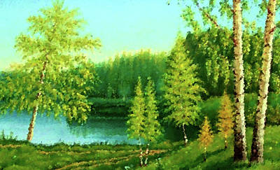 Sunrise Painting - Nature Landscape Lighting by Edna Wallen