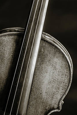 Photograph - 228 .1841 Violin By Jean Baptiste Vuillaume Bw by M K Miller
