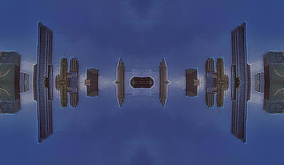 Outer Space Mixed Media - 22nd Century Floating Cities Concrete Canyons by Thomas Woolworth