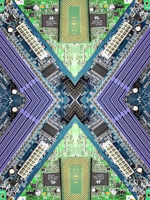 Electronics Photograph - Computer Circuit Board Kaleidoscopic Design by Amy Cicconi