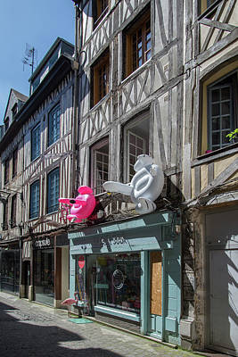 Black And White Flower Photography - Half Timbered Architecture in Rouen France by Carol Ailles