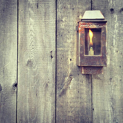 Photograph - Iron Lamp On Old Wood by Vintage Pix