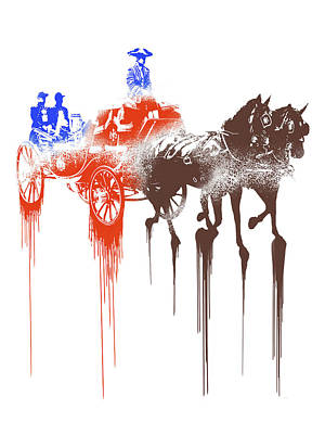 Carriage Mixed Media - Paint Drips by Solomon Barroa