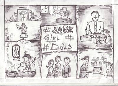 Save The Girl Child Drawing - 23 by Shripal Mehta