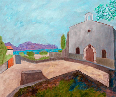 St.tropez Painting - St. Anne's Chapel Saint-tropez, After Matisse by Terry Pakish