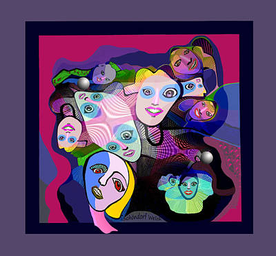 Digital Art - 2305 - The Funny Faces 2017 by Irmgard Schoendorf Welch