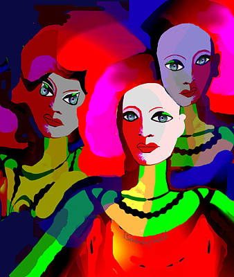 Digital Art - 2309 - Faces And Bright Colour  2017 by Irmgard Schoendorf Welch