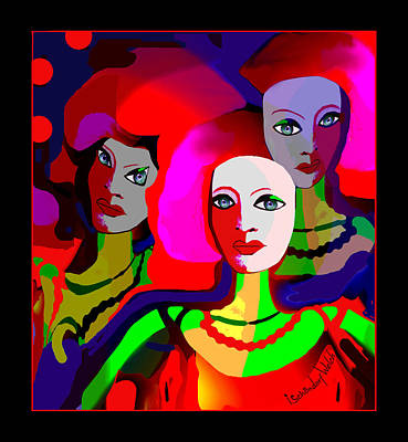 Digital Art - 2314 Faces 2017 by Irmgard Schoendorf Welch