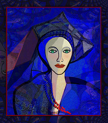 Digital Art - 2322 - Lady In Blue  2017 by Irmgard Schoendorf Welch