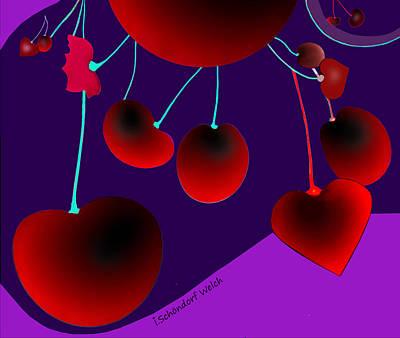 Digital Art - 2333 - Cherries 2017 by Irmgard Schoendorf Welch
