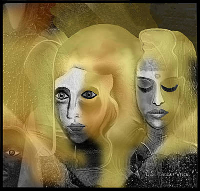 Digital Art - 2342  Dark Golden Haziness  2017 V   by Irmgard Schoendorf Welch