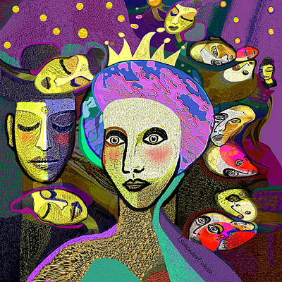 Digital Art - 2354 - Faces Faces 2017 by Irmgard Schoendorf Welch
