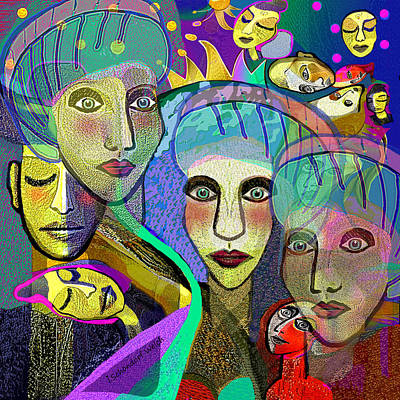 Digital Art - 2356 - Faces Of A Woman 2017 by Irmgard Schoendorf Welch