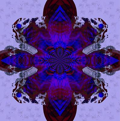 Digital Art - 2373 - Dark Purple Mandala 2017 by Irmgard Schoendorf Welch