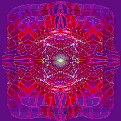 Digital Art - 2376 Mandala Purple And  Red 2017 by Irmgard Schoendorf Welch