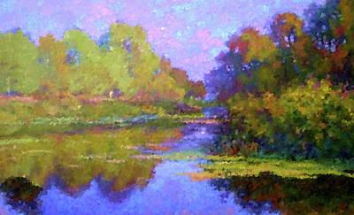 River Painting - Nature Oil Canvas Landscape by Edna Wallen