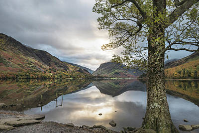 Monochrome Landscapes - Beautiful Autumn Fall landscape image of Lake Buttermere in Lake by Matthew Gibson