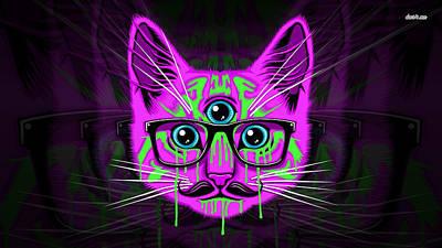 Fractal Digital Art - Cat by Maye Loeser