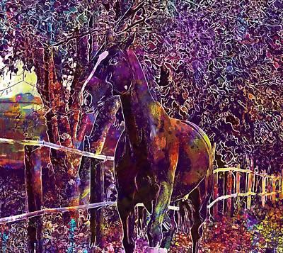 Digital Art - Horse Animal Ride Reiterhof Brown  by PixBreak Art