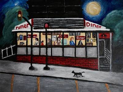 Painting - 24 Hour Diner by Victoria Lakes