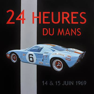 Gt40 Painting - 24 Hours Of Le Mans by Henry Balzer