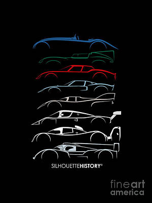 Jaguar Art Digital Art - 24 Hours Race Cars Silhouettehistory by Gabor Vida
