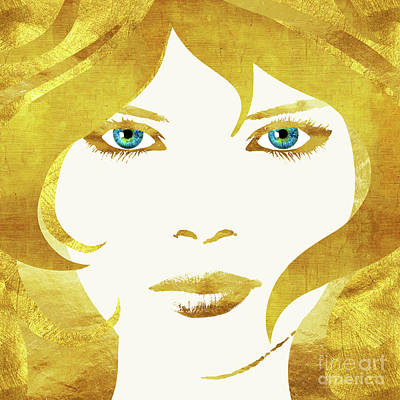 Intense Painting - 24 Karat Babe, Woman In Gold Fashion Art by Tina Lavoie