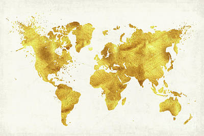 Cartography Painting - 24 Karat World, Gold World Map by Tina Lavoie