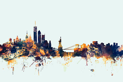 Big Digital Art - New York Skyline by Michael Tompsett