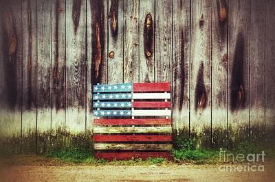 Wood Pallet Flag Photograph - 24 Star American Flag by John Myers