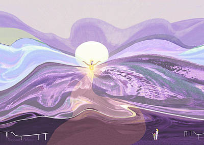Digital Art - 2400 - Mountain Morning With Angel 2017 by Irmgard Schoendorf Welch