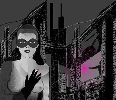 Digital Art - 2405  Black City Night by Irmgard Schoendorf Welch